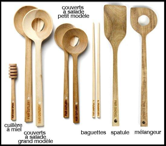 Ustensiles de cuisine en bois d 39 acacia fair cutlery - Ustensile de cuisine commencant par p ...