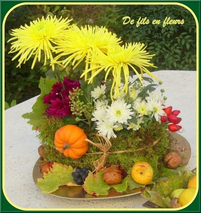 Composition florale d 39 automne hommage les passions de mam 39 france - Composition florale automne ...