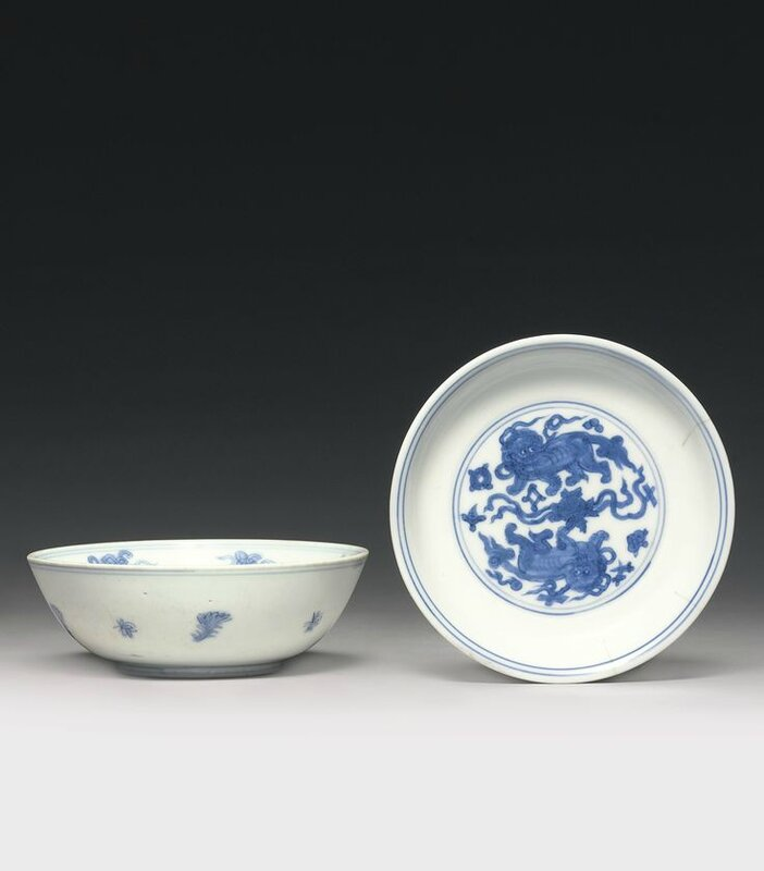 A blue and white 'Lion' dish, Jiajing mark and period1