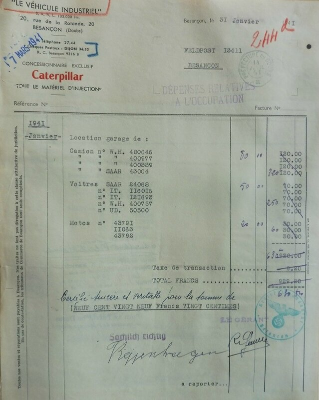 véhicule indus facture 1941