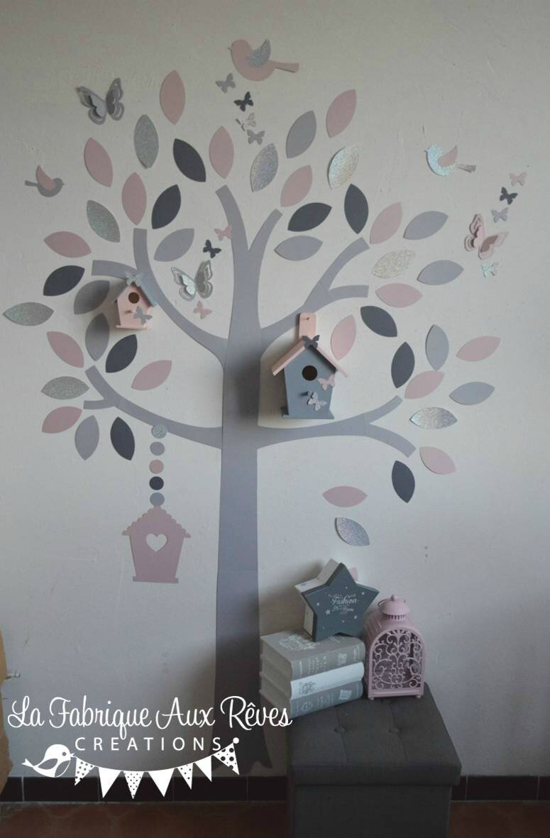Stickers arbre rose poudr argent gris clair gris for Stickers arbre chambre bebe