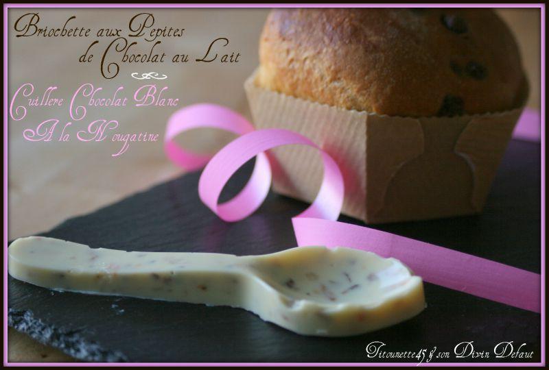 Briochette pépites de chocolat au lait & cuillère chocolat blanc