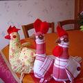 Poules en tissu