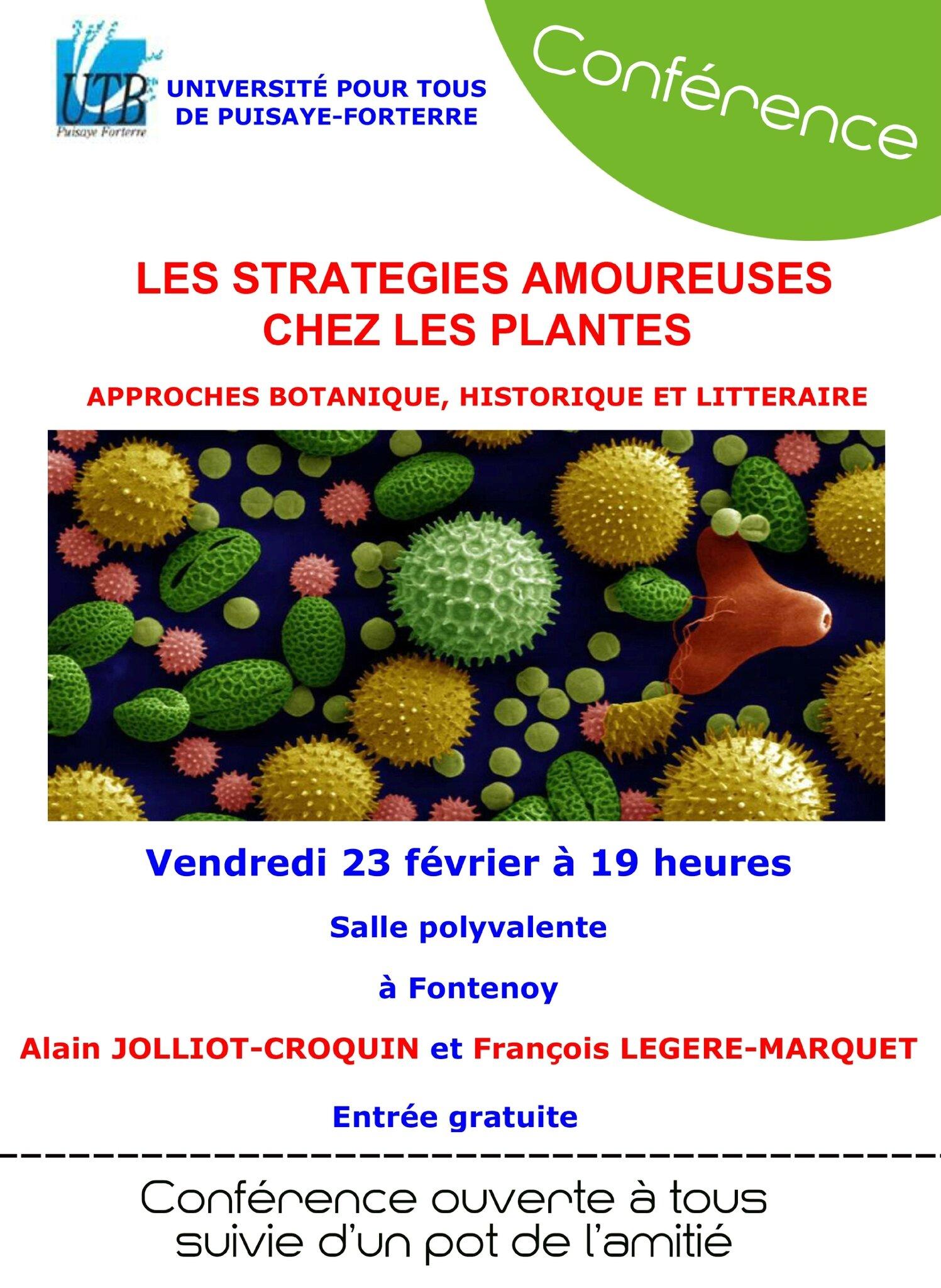 Conférence sur les stratégies amoureuses des plantes , J - 1 !!!!