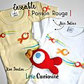 Ensemble bébé Naissance - Doudou [ Henri ] le raton-laveur + Doudou [ Poisson Rouge ] au crochet + Body bébé [ poisson ] - Kidsroom - Handmade in France - ©LittleCuriosité