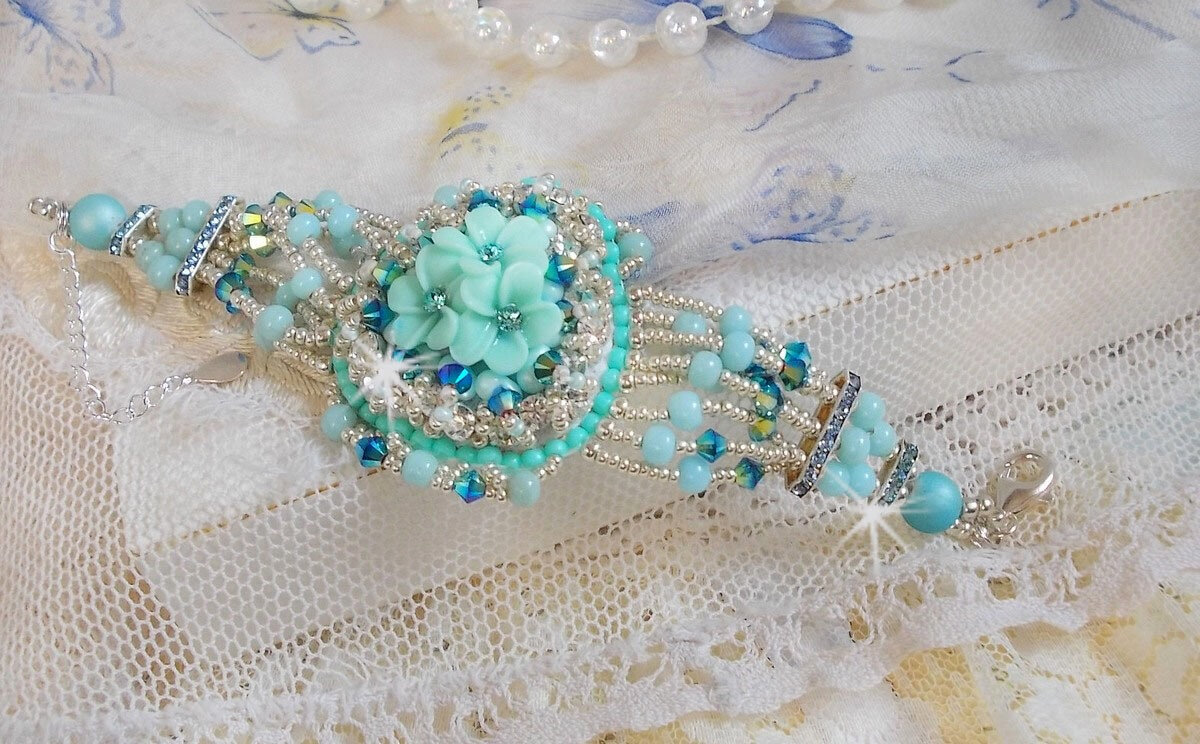 Bracelet Blue Flowers Huate-Couture