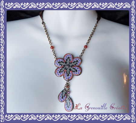 Collier_fleur_papillon_black___purple_III__bronze_
