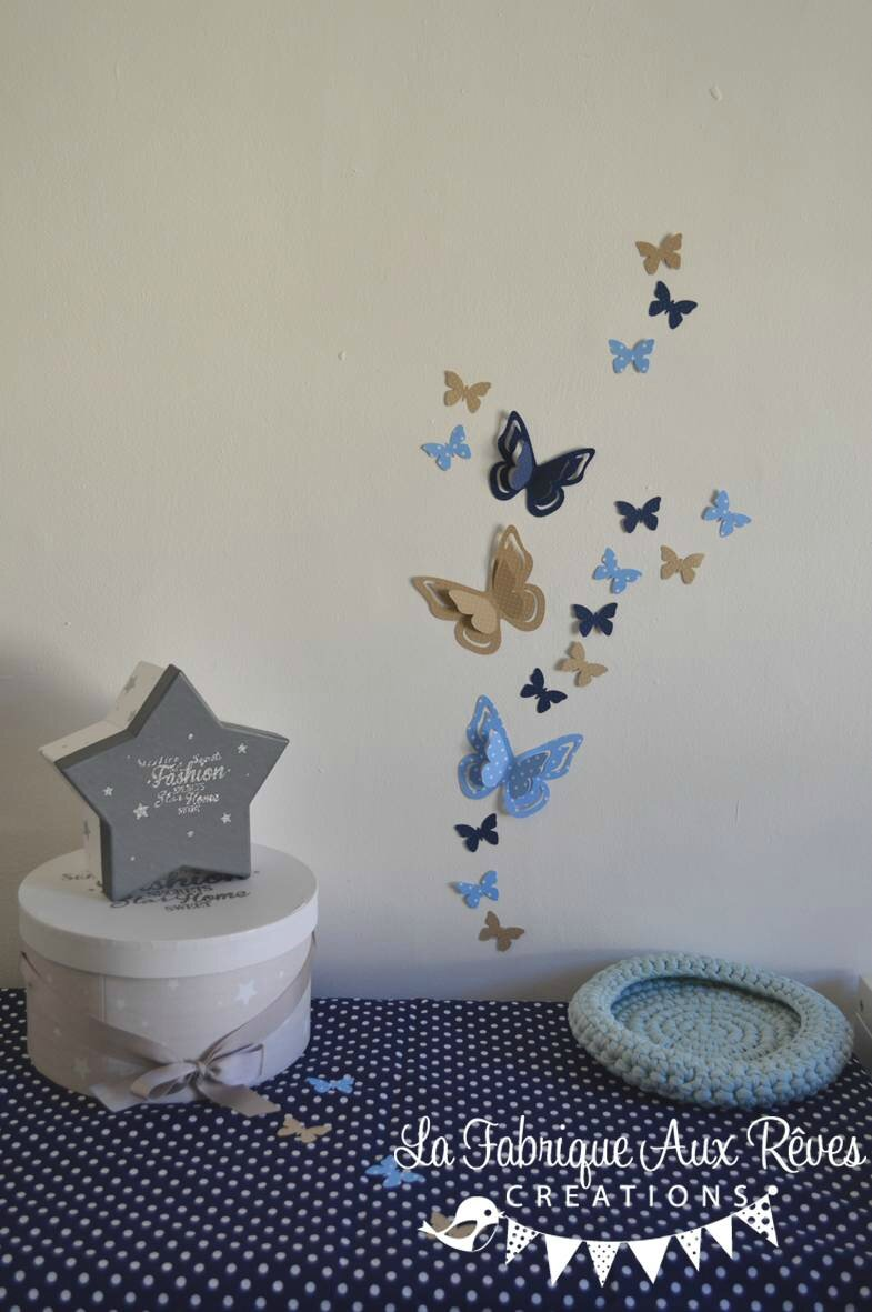 stickers papillons 3d bleu ciel cr me bleu nuit d coration chambre b b bleu ciel camel cr me. Black Bedroom Furniture Sets. Home Design Ideas