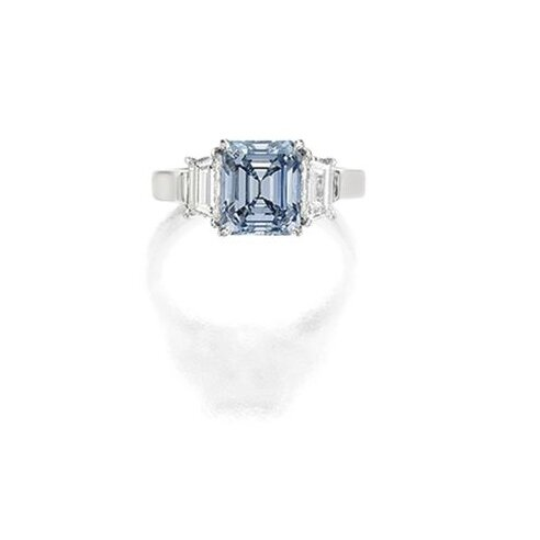 Exquisite Fancy Intense Blue Diamond and Diamond Ring