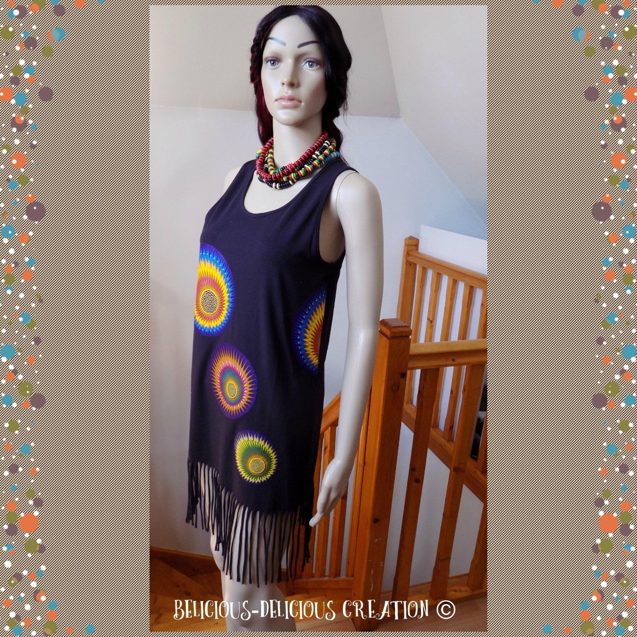 Originale Top !! AFROWAX !! en coton noir/multicolore, Long 88cm Taille: 38/40 belicious-delicious-creation