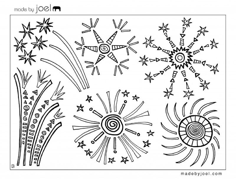 Les feux d 39 artifice colorier timol on - Feu coloriage ...