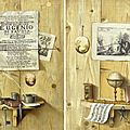 Antonio gianlisi, trompe-l'oeil with rosary, spectacles, book and ink well/ trompe-l'oeil with globe, musical instruments, score