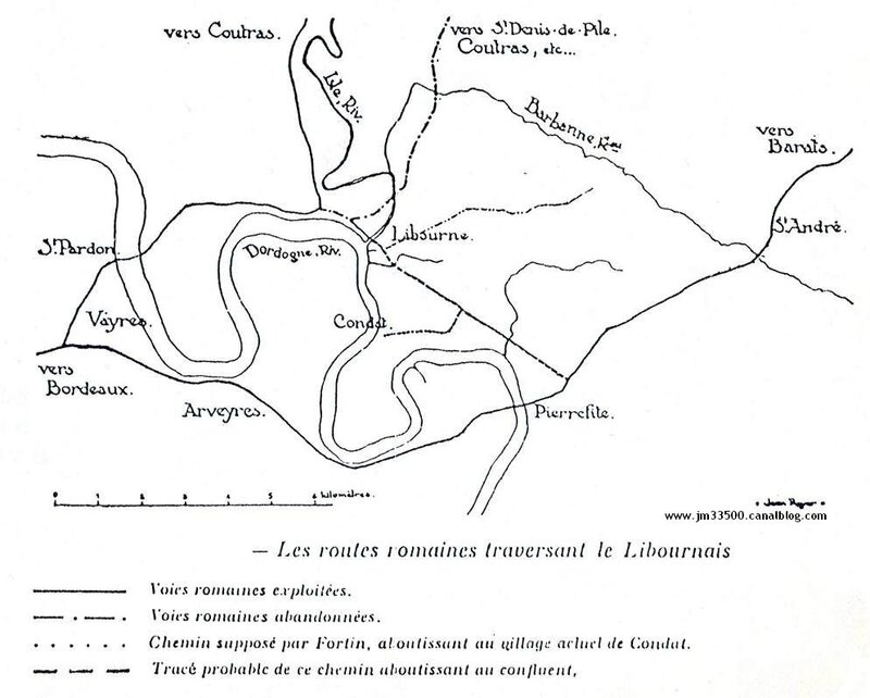 Carte des routes romaines du Libournais