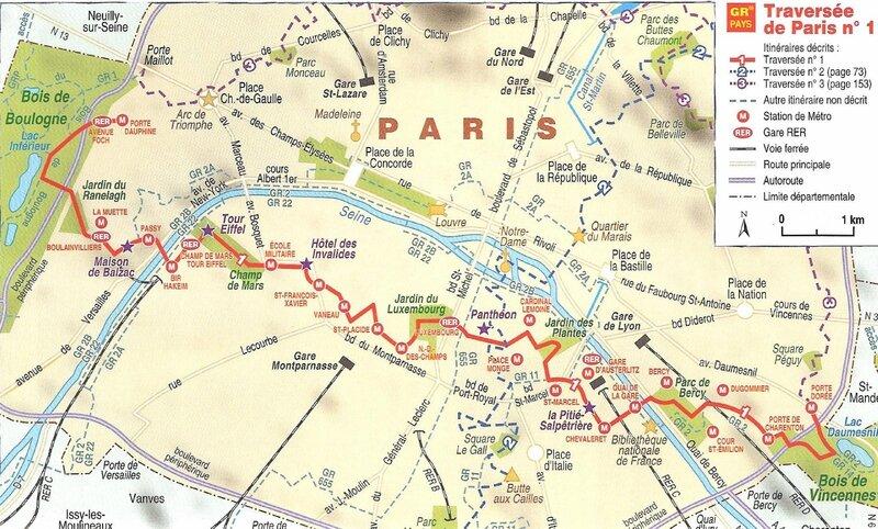 itineraire a pied paris