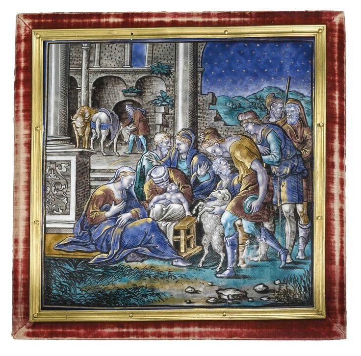 Attributed to Pierre Veyrier II, French, Limoges, circa 1550-1560, Large plaque with the Adoration of the Shepherds