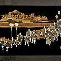 Two japanese lacquer and mixed inlay 'foxes wedding' panels, 19th century