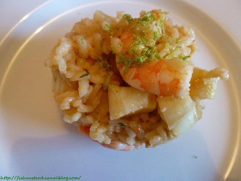 risotto aux crevettes asperges et citron vert fish custard. Black Bedroom Furniture Sets. Home Design Ideas