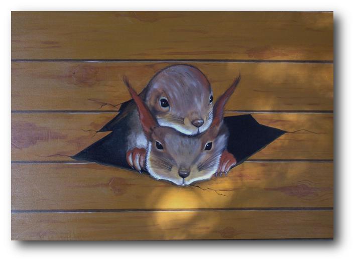 Ecureuis & lambris (Acrylique sur bois)