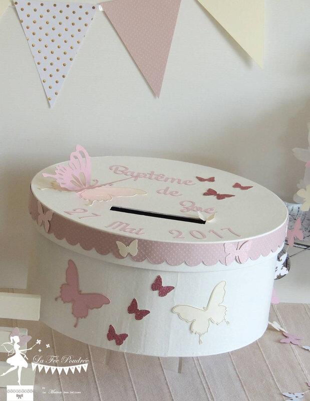 urne bapteme theme papillon rose poudre ivoire dore guirlande lettres2