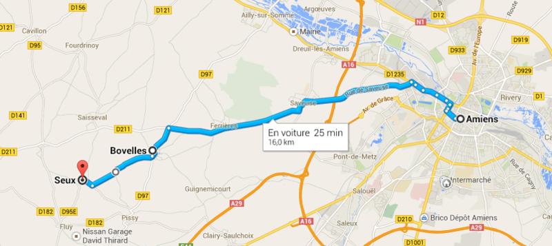 Carte Amiens Bovelles Seux