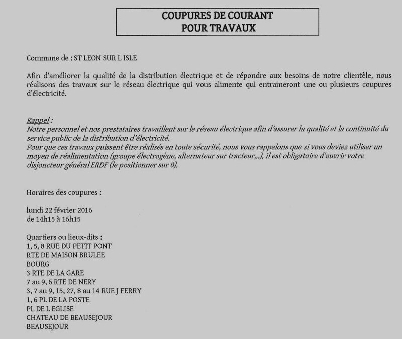 Coupure d 39 lectricit blog d 39 informations de j luc laforce - Indemnisation edf suite coupure courant ...