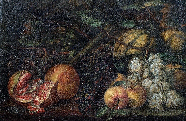 École romaine, vers 1700, suiveur d'Agostino Verrochio, Nature morte de fruits : grenade, melon, raisins et pêches