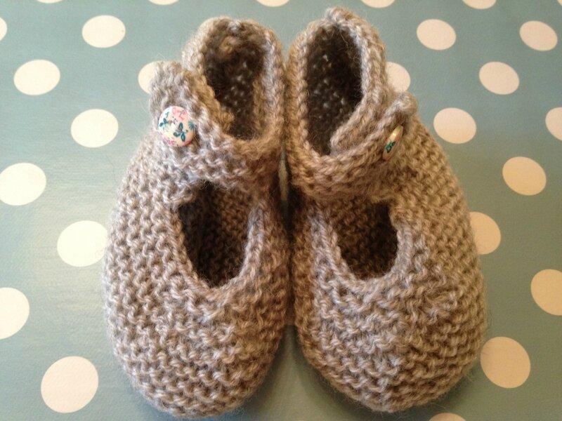 chaussons bebe 1pel point mousse baronval gris bergeredefrance modele babbies tricots intemporels pour bebes 3M 6M 3