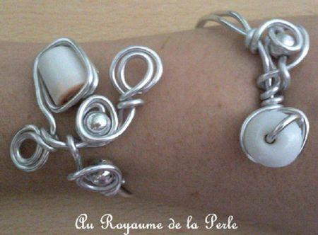 Bracelet alu blanc et métal argenté 1a