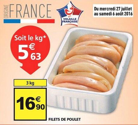 Auchan - Filet de poulet du 27 juillet au 2 août 2016