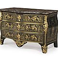 An early louis xv ormolu-mounted brass-inlaid ebony boulle marquetry commode by claude lebesgue, circa 1740