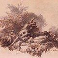 Philippe-Jacques de Loutherbourg (1740-1812) Projet de frontispice avec une tête de mort, 1797 - Signé et daté en bas à droite - Plume, encre brune et lavis gris - 20 x 26 cm - Paris, Musée du Louvre (don sous réserve d'usufruit)