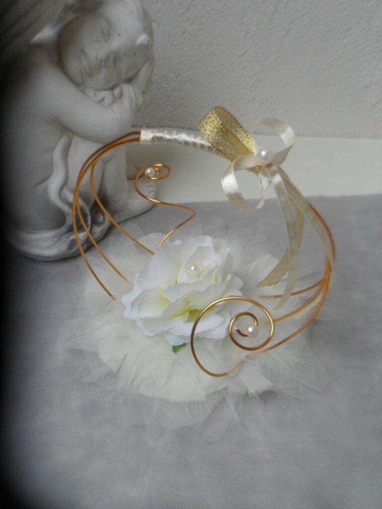 Porte alliances original or et ivoire avec rose for Decoration fausse porte mariage