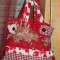 sac rouge en toile de jouy