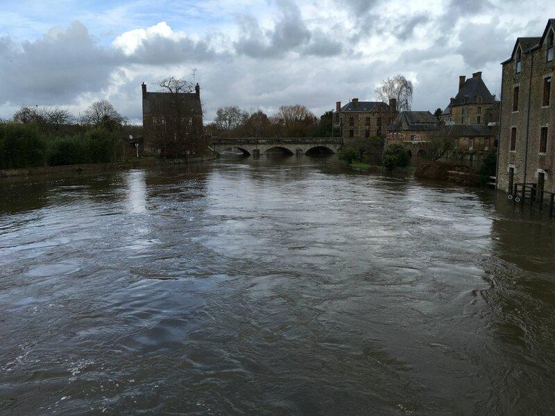 inondation crue 14 février 2016 Ducey Sélune pont