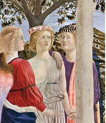 Piero Della Francesca ca 1450-Bapteme du Christ- detail- National Gallery Londres
