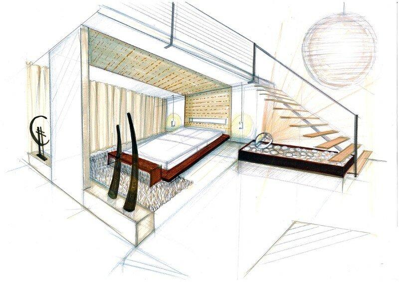 Chambre en perspective en perspective comment dessiner une for Comment dessiner une piece en perspective