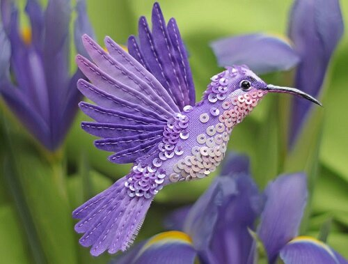 Miniature-brooch-Purple-bird