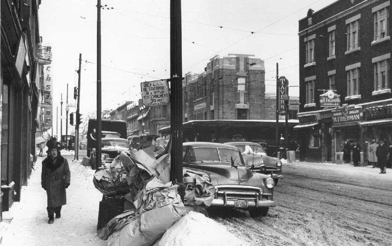 Boulevard Saint-Laurent hiver 1952 c angle Rachel copie