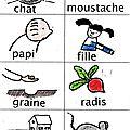 Imagier de quel radis dis donc en écriture scripte et en couleur