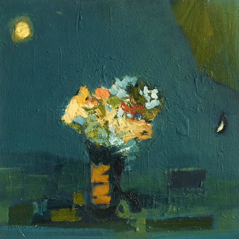 2013_Moon_and_Flowers_oil_linen_24_x_24_ jenniçfer hornhyak