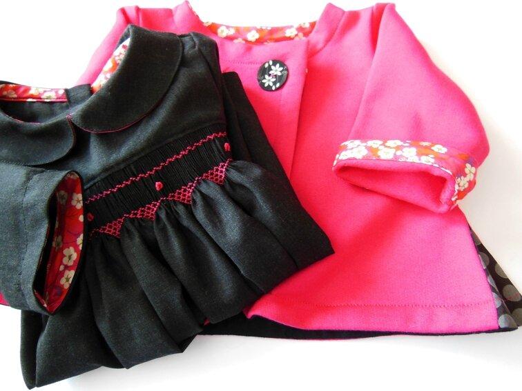Tenue robe à smocks-gilet à godets6M 1-3