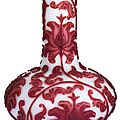A ruby-red overlay glass bottle vase, qing dynasty, 19th century