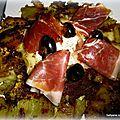 Galette de pommes de terre fromage, jambon, crème d'olive