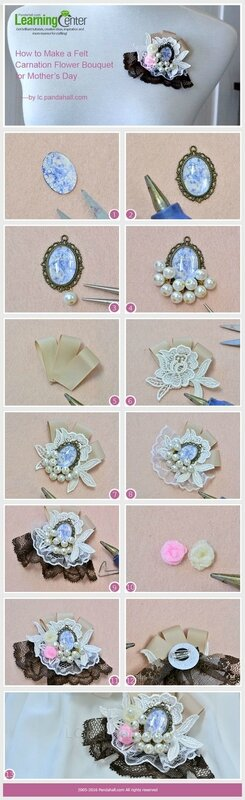 How to Make Cheap Lolita Brooches with Lace Trim and Pearl Beads
