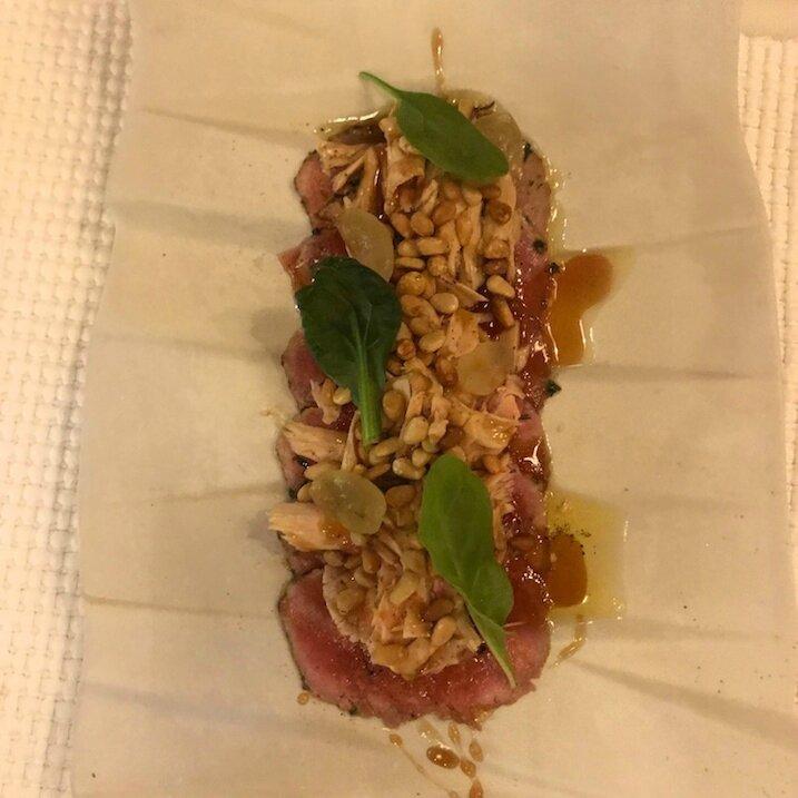 Carpaccio de veau, foie gras, Moscatel