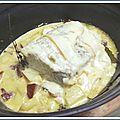 Rôti de porc à la raclette et pomme de terre au lard