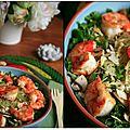 Épinards et gambas pour une salade colorée
