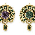 An art nouveau alexandrite, diamond and enamel brooch, by marcus & co