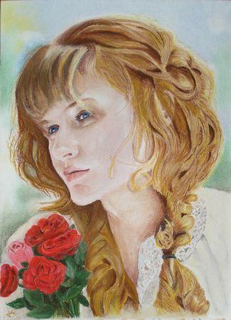 Jeune fille aux roses
