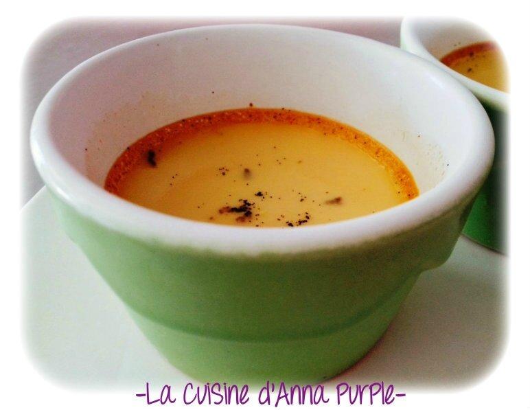 Crème auX oeuFs et pomme infusée à la vanille sans lait ni sucre